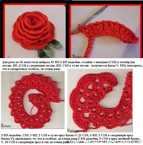 Как связать крючком своими руками розу