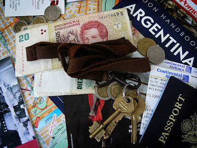 Money, keys, passport, tickets and Argentina maps and travel guide