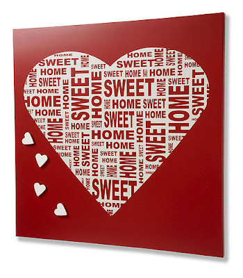 magnetic board with heart, saying Home Sweet Home