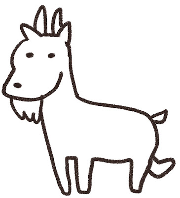 ヤギのイラスト(動物) 白黒線画