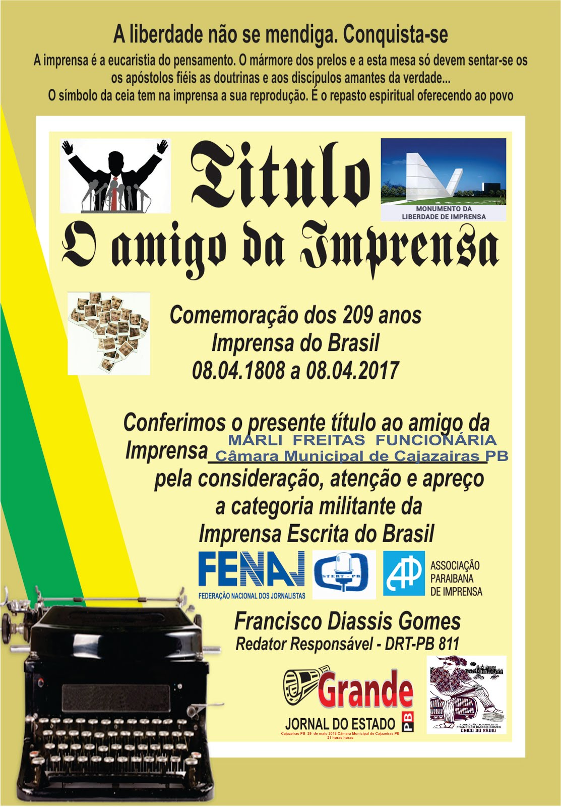 HOMENAGEADA MARLI FREITAS  CÂMARA MUNICIPAL DE CAJAZEIRAS  PB