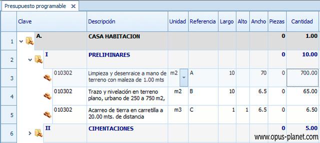 Opus Planet Cuantificación manual (números generadores - mediciones)