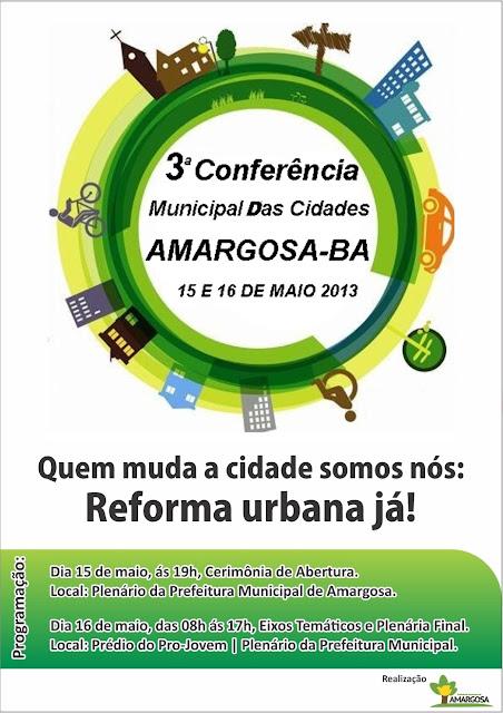 Vem ai a III Conferência Municipal das Cidades.