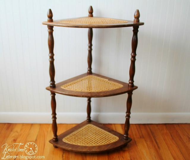 Caned Wooden Corner Stand via http://knickoftimeinteriors.blogspot.com/