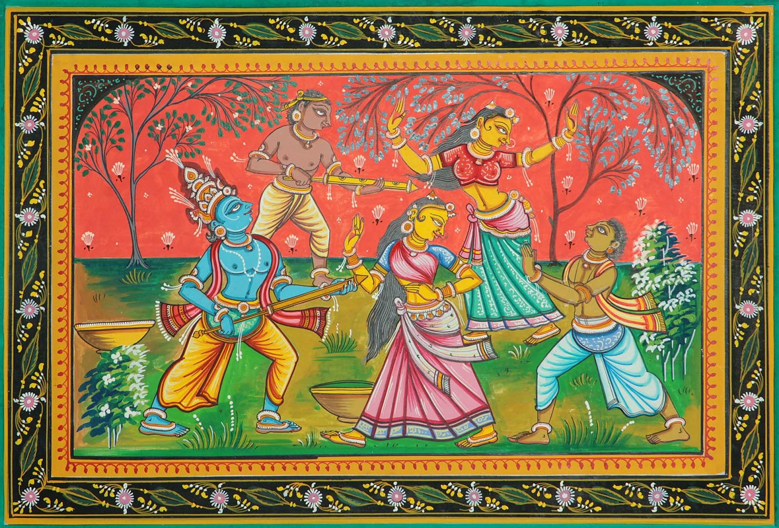 Radha-Krishna image playing Holi the festival of colors.