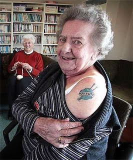 Grandma with knitting tattoo