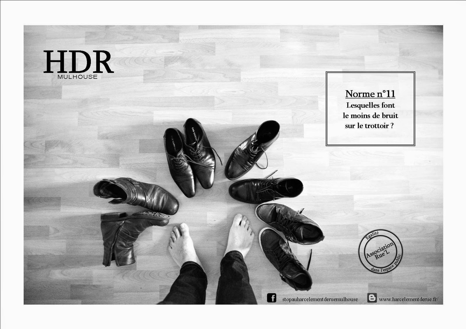 Photo norme chaussures harcèlement de rue Mulhouse