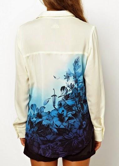 Blusa Manga Larga Con Flores Estampadas