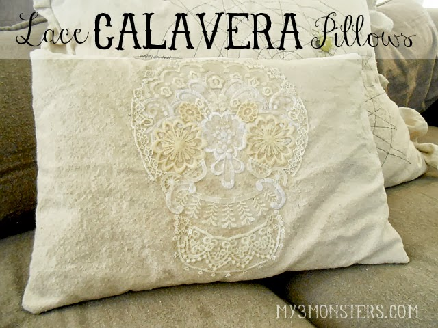 Dia de los Muertos Lace Calavera Pillow Covers at my3monsters.com