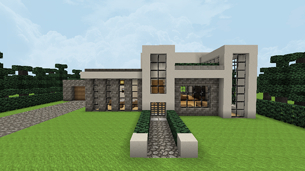 Gri disegni minegrift modern house 1 casa moderna en for Casa moderna minecraft easy