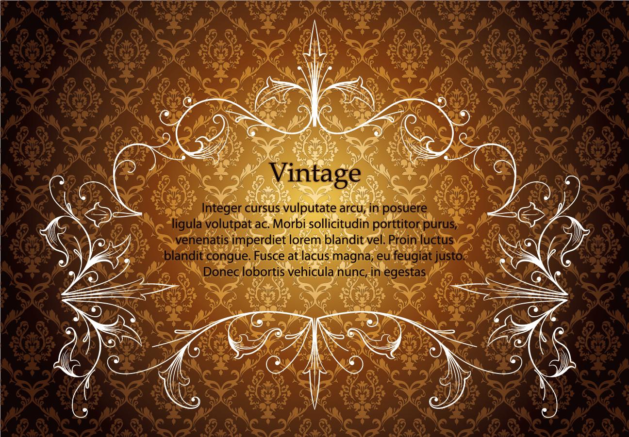 シームレスな背景にお洒落なレース飾りのフレーム european gorgeous lace pattern イラスト素材2