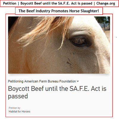 Boycott Beef Until SAFE Act Is Passed