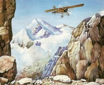 Dibujo del vuelo de Jorge Chávez pasando los Alpes