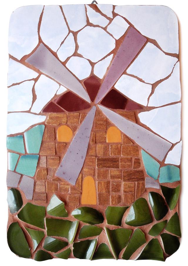 mozaika artystyczna: obrazek z młynem