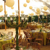 Wedding Dance Floor Decorated with Paper Lanterns