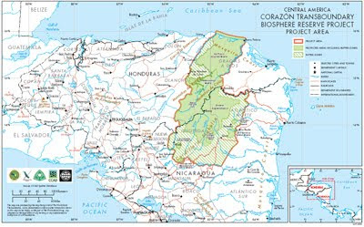 Rio Platano Biosphere Reserve map (Honduras)