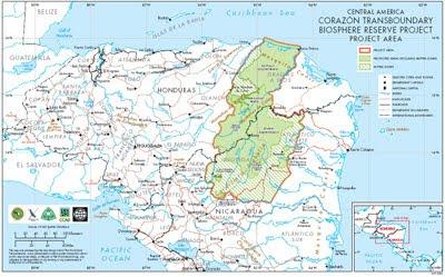 Rio Platano Biosphere Reserve map (Honduras)