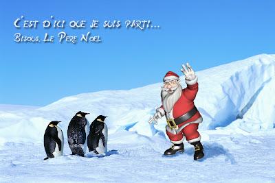 Le Père Noël avec ses amis sur la banquise