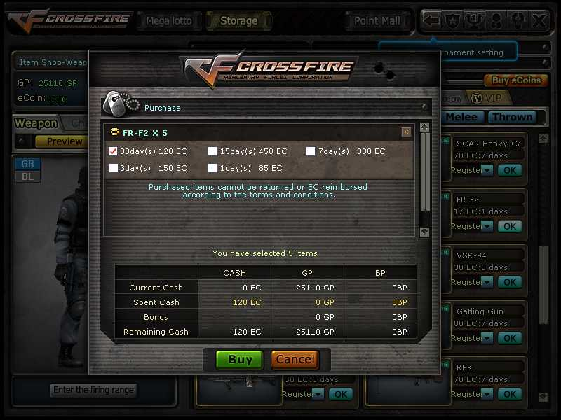Choose Guns That You Want -> Choose 30 Days -> Popup Appear Click