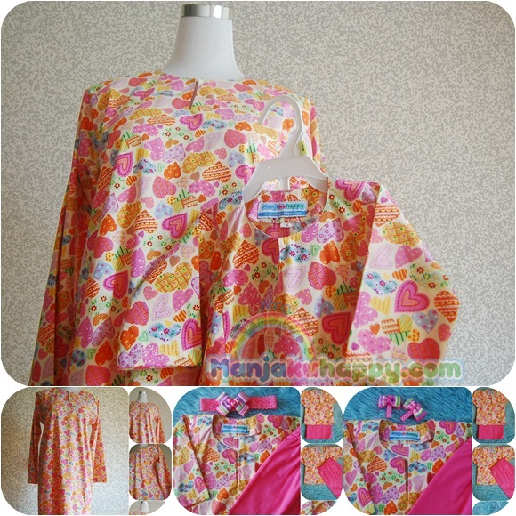 Baju Kurung ibu dan anak sedondon English Cotton Matching Pink Love