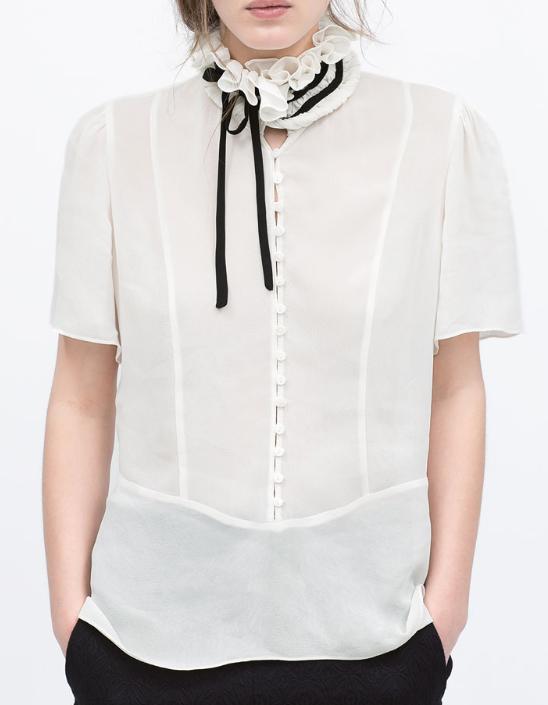 Zara camisa cuello alto con lazada SS 15 Clon blusa Chanel
