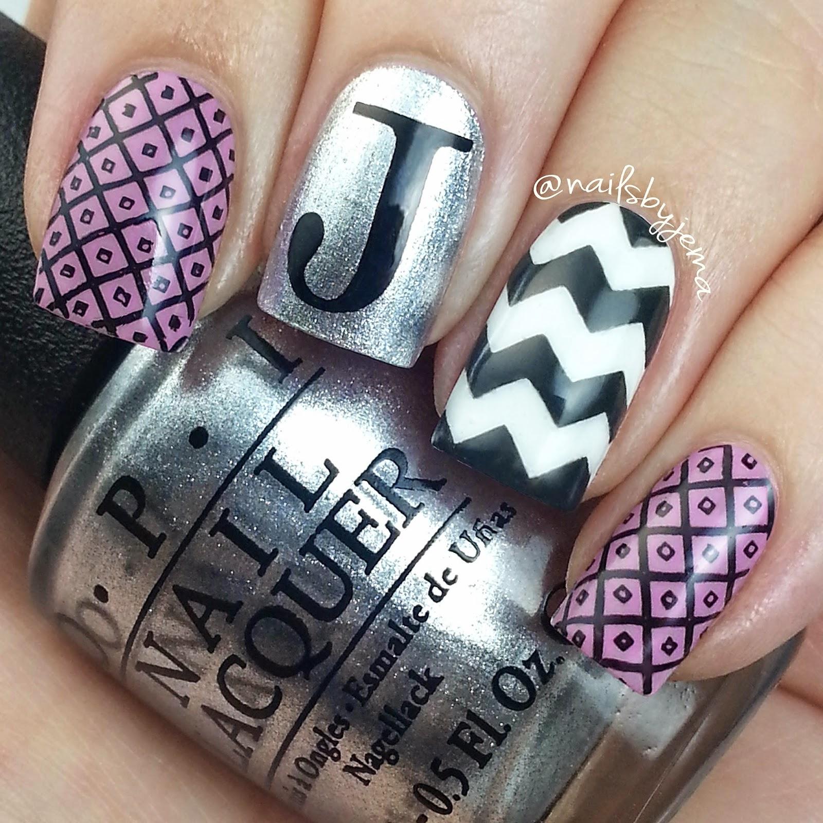 Letter j nail art
