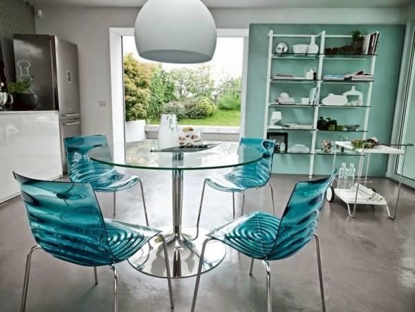 Comedores de color turquesa colores en casa for Sillas comedor turquesa