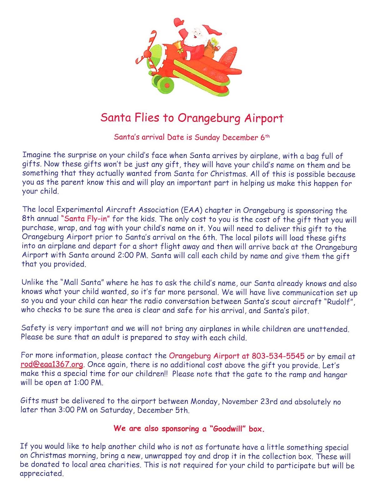 Santa Flies to Orangeburg Airport Sunday, December 6th | What\'s New