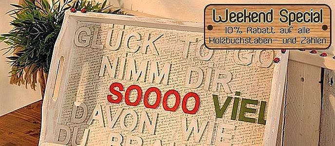 Holzbuchstaben sind perfekt für individuelle Aussagen oder zum Personalisieren von Selbstgebasteltem. Hübsch verziert mit Farben, Perlen, Glitter werden sie zu einem erinnerungswürdigen Statement. 10% Rabatt auf alle Holzbuchstaben und -zahlen  gültig NUR am SAMSTAG, 19. Juli und SONNTAG, 20. Juli 2014