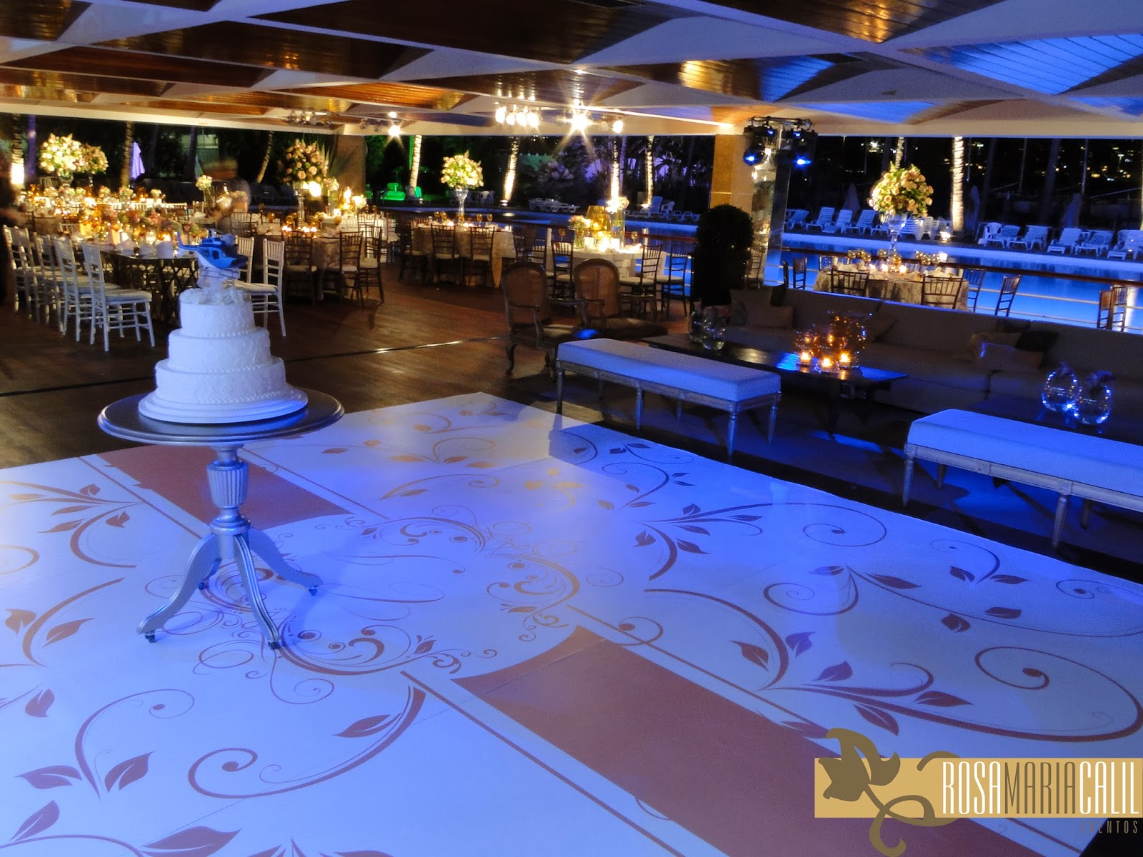 pista de dança, casamento, mesa do bolo, bolo
