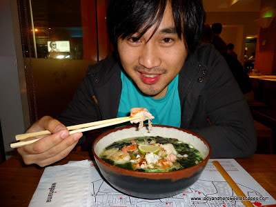 Ed eating Ramen at Wagamama