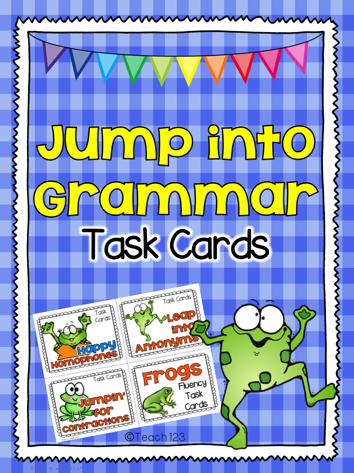 http://www.teacherspayteachers.com/Product/Jump-into-Grammar-Task-Cards-Homophones-Antonyms-Contractions-1221565