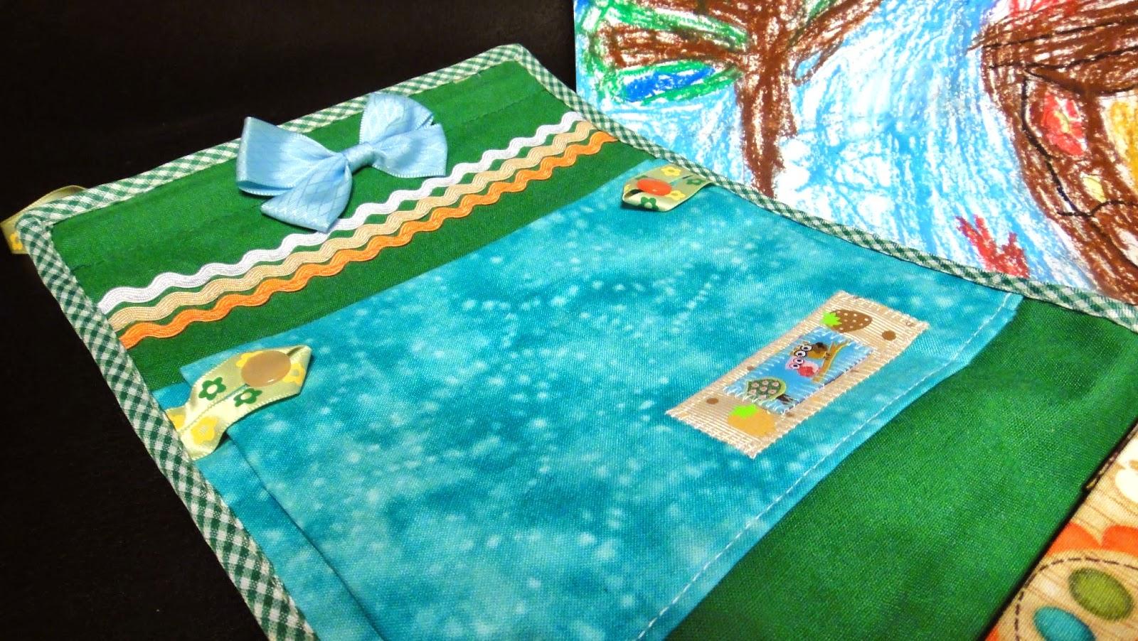 Детские кармашки, основные цвета: голубой и зеленый, персонажи: совы и лисы - подарок мальчику