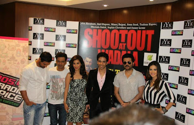 Sunny Leone,Tusshar, John & Sophie at Dubai for Shootout At Wadala Press Conference.