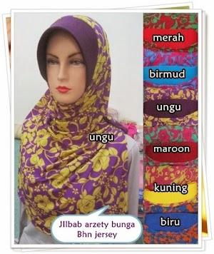 Jilbab Azerty Jersey Motif Bunga