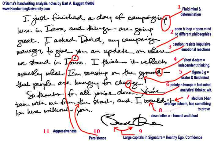 Barack Obama Handwriting analysed