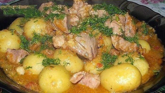 Тушёная картошка с мясом и овощами рецепт с фото пошагово