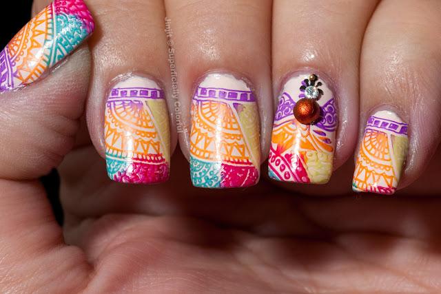 Mehndi Henna Pattern Nail Art Design