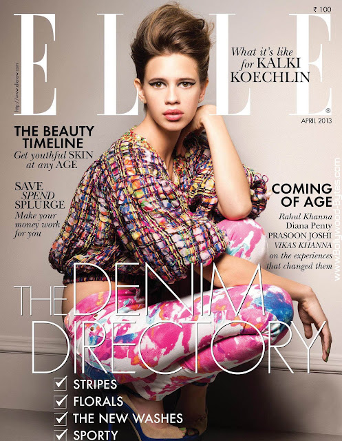 Beautiful Kalki Koechlin Cover Girl Elle India Fashion April 