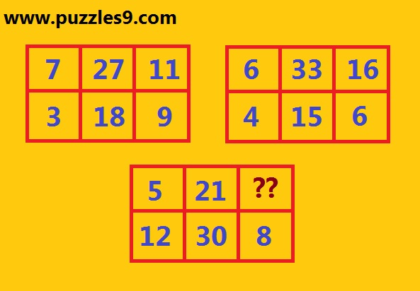 Missing number rectangles puzzle 45 puzzles aptitude reasoning