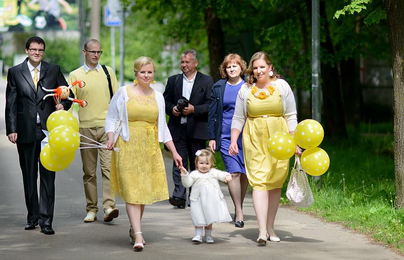 geltonos spalvos krikštynų atributika