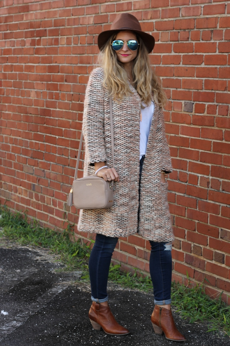 Chunky Knit Sweater with Jeans and Fedora Hat