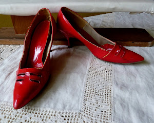 1950's Red Patent Leather Shoes...worn but still wonderful!