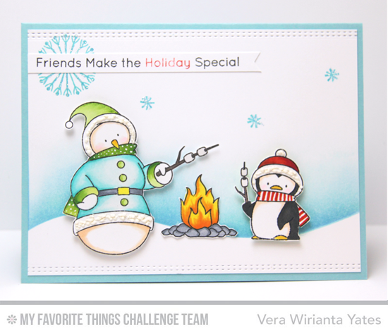 Holiday Friends Card by Vera Wirianta Yates featuring the Birdie Brown Toasty Greetings stamp set and Die-namics #mftstamps