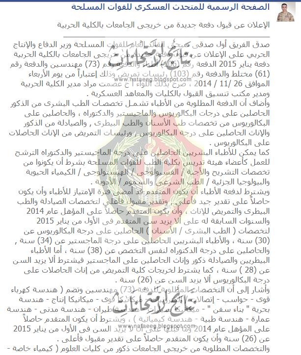 تفاصيل إعلان  قبول دفعة جديدة من خريجى الجامعات بالكلية الحربية 2014/2015