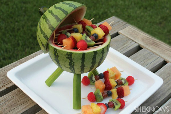 watermelon grill with fruit kebabs