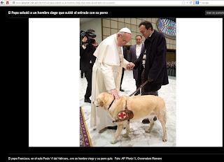 http://www.lanacion.com.ar/1563913-el-papa-saludo-a-un-hombre-ciego-que-subio-al-estrado-con-su-perro