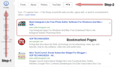 Google Plus One +1 Tab Bookmarked Pages