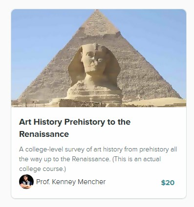 http://art-and-art-history-academy.usefedora.com/courses/art-history-prehistory-to-the-renaissance