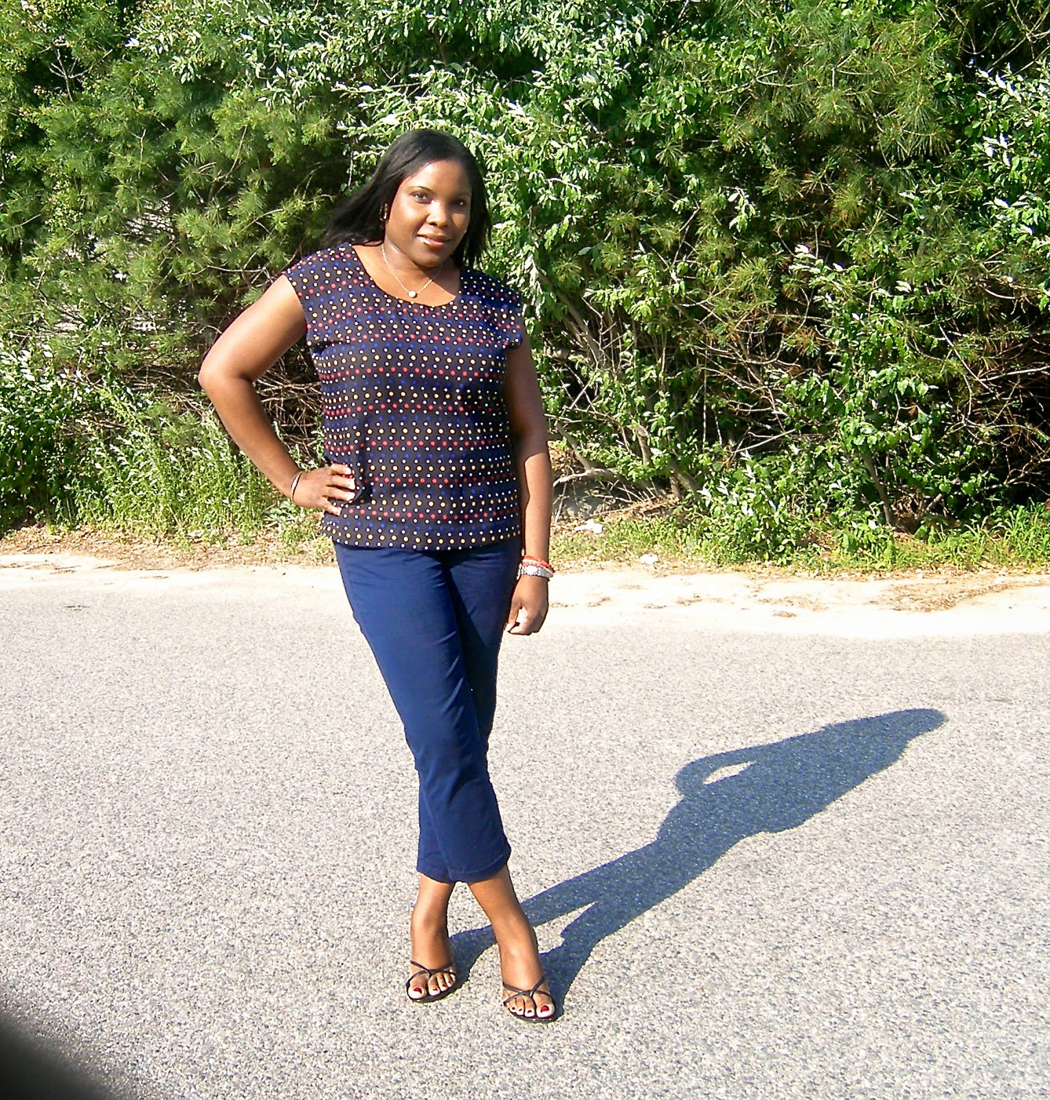 macys top, Old Navy Boyfriend khaki, kitten heeled sandals